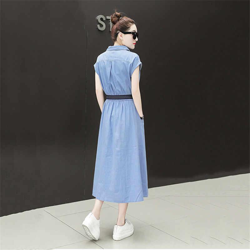 Джинсовое летнее женское платье 2019 новая мода Свободный Темперамент Талия длинное платье повседневное с коротким рукавом тонкая рубашка джинсовое платье JIA257