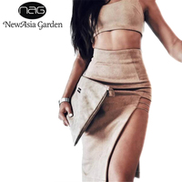 NewAsia Garden Two Piece Sets Sexy Suede Dress Suits Cropped Tank Tops High Waist Bottom Sexy