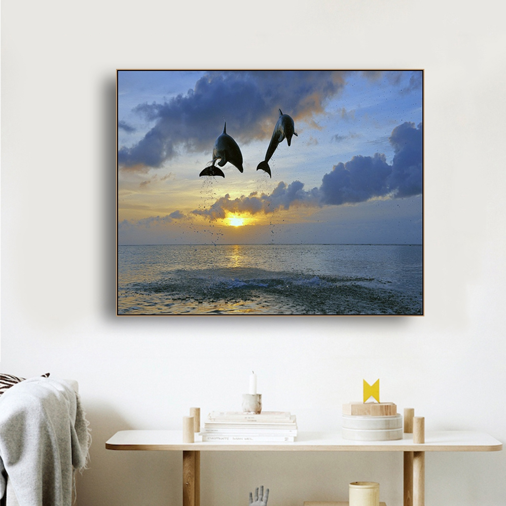 Laeacco Sea Marine Fish Sunshine Posters and Prints Canvas Painting Wall Art Picture Home Decor Living Room Decoration in Painting Calligraphy from Home Garden