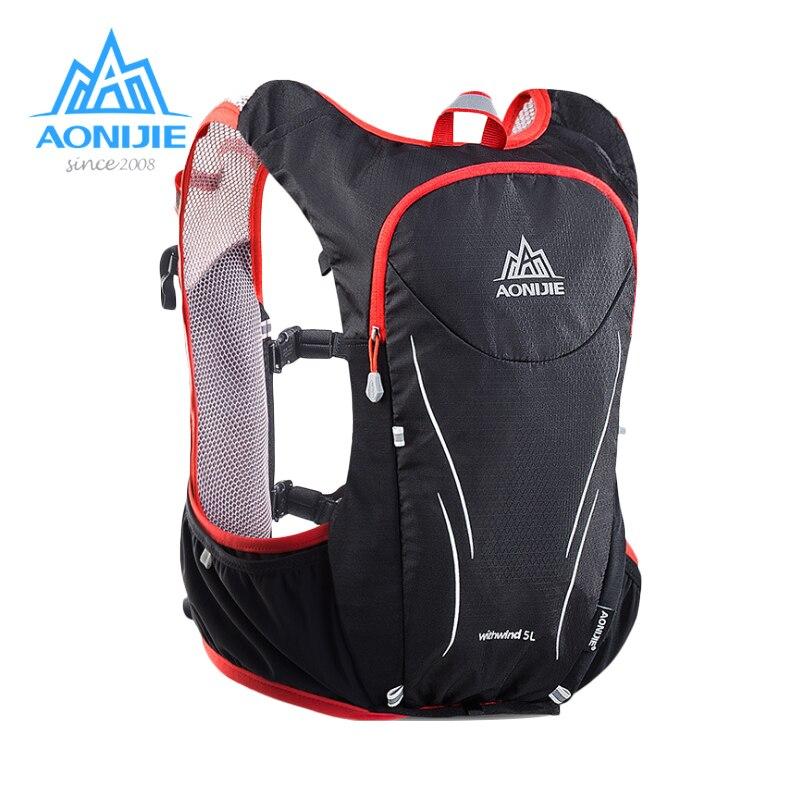AONIJIE 5L Degli Uomini Delle Donne Maratona Idratazione Maglia Pack Per 2L Sacchetto di Acqua Escursioni In Bicicletta Escursionismo Sacchetto di Sport Esterno Corsa e Jogging Zaino