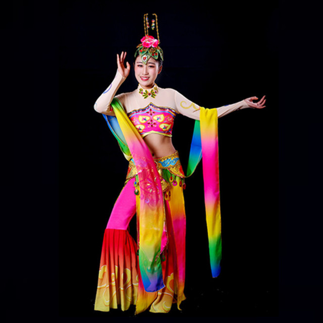 דונהואנג מעופף ריקוד תלבושות ירח ריקוד לאומי בלט תלבושות ריקוד קלאסי Fanxian מיאו עופרת פיות בגדים