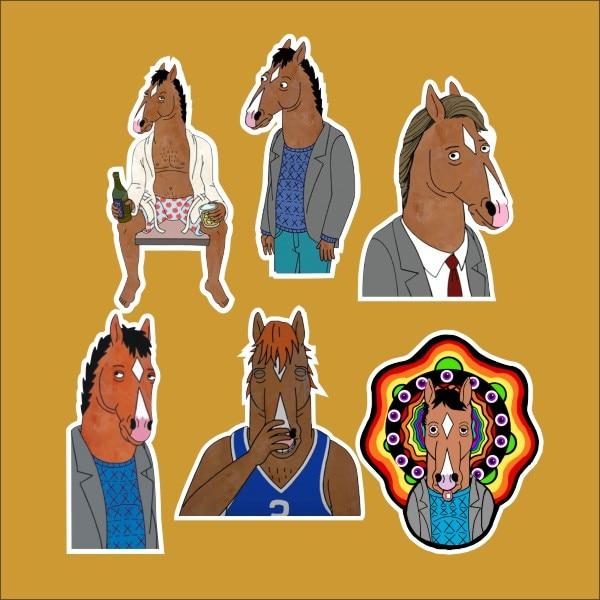 6pcs/1lot Bojack Horseman Todd Chavez Amy Sedaris /refrigerator/skateboard/trolley Case/backpack/tables/book Sticker Pvc Sticker Elegant In Smell