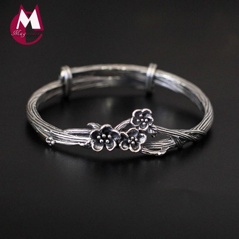 Vintage Fiore Albero Braccialetto Handmade Plum Blossom Fine Jewelry 100% Reale 925 Sterling Silver Bracciali Braccialetti Per Le Donne Sb04 Ricco E Magnifico