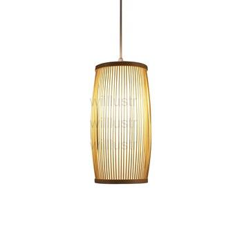 Willlustr bambu liontin cahaya lampu gantung alami hotel restaurant cafe bar kayu nordic lampu suspensi pencahayaan buatan tangan