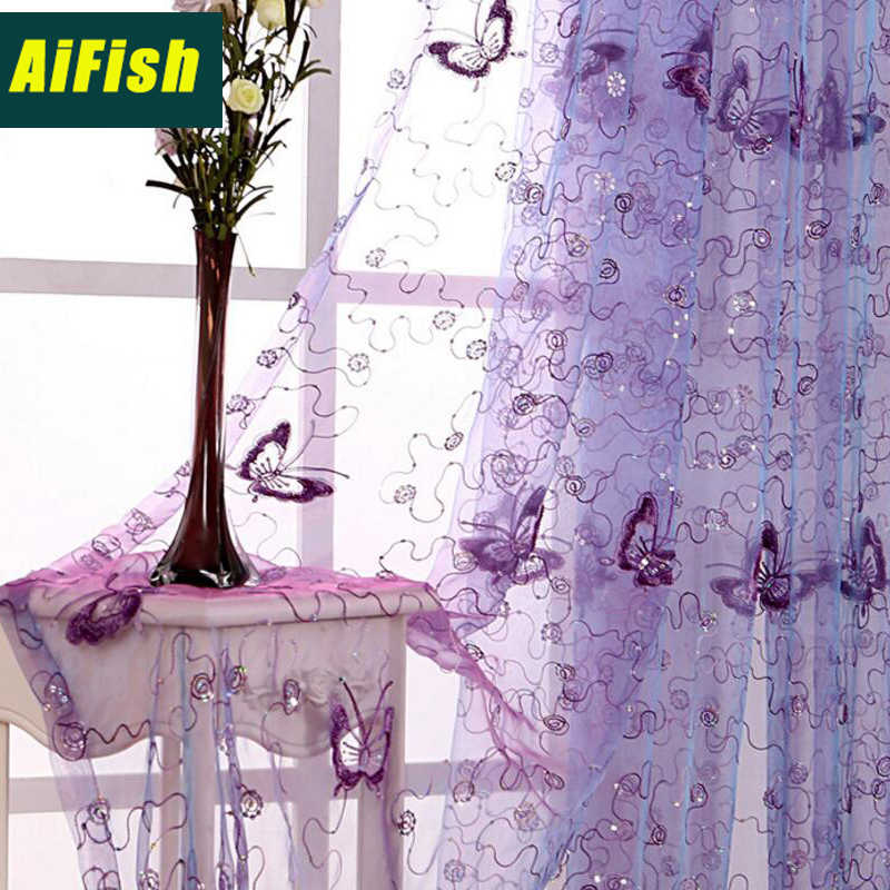 Pink Curtains butterfly decor Purple Embroidered Curtains Screening Sheering Tulle Curtain For Living Room Red Tulle wp344#30