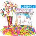 256 Pcs Varas de Inteligência Do Bebê de Plástico Blocos de Construção de Brinquedos Educativos Feitos À Mão DIY Bebê Aprendizagem Precoce Montessori Presentes
