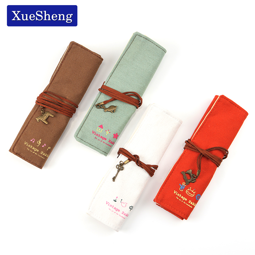 1 PC Pencil Case Canvas School Supplies Kawaii Stationery Gift School Cute Roll Up Pencil Box Pencilcase Office Supplies in Pencil Cases from Office School Supplies