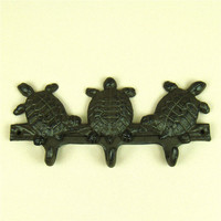 Cast Iron Sea Turtles Figurine Clothes Hanger Decorative Metal Hawksbill Model Jacket Hook Household Ornament Craft Accessories