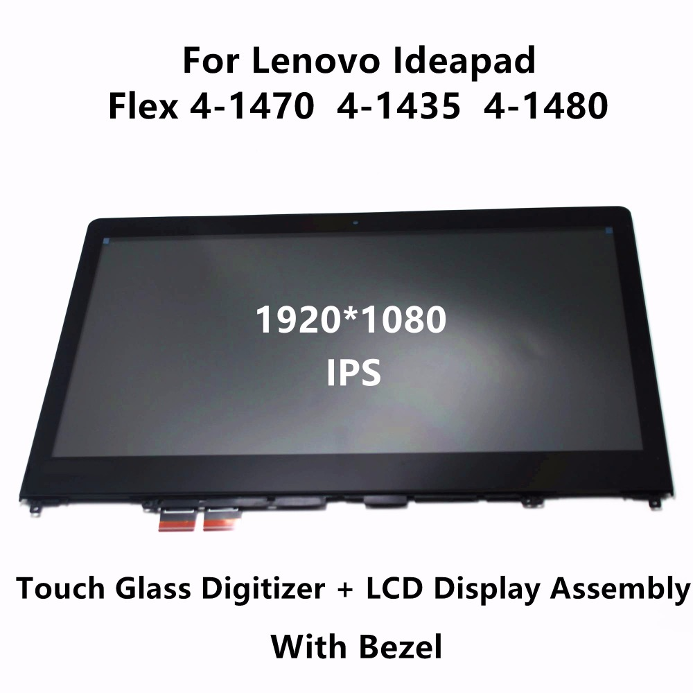 IPS LCD Screen Display Touch Panel Glass Digitizer Assembly + Bezel for Lenovo Ideapad Flex 4-1470 80SA 4-1435 80SC 4-1480 80VD