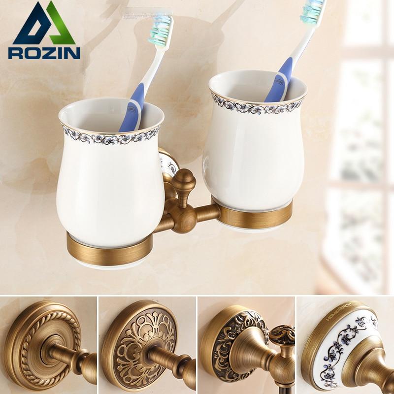 Modern Design Toothbrush Holder Bathroom Accessories Organizer Ceramic Cup Brass Holder Antique Brass Finish
