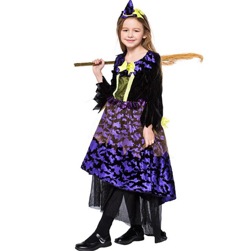 Deluxe Girls Bat Witch Costume Halloween Costume For Kids Carnival Children Party Cosplay Clothing