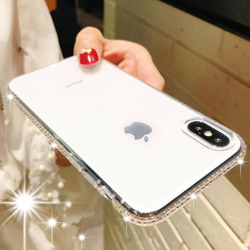 Fundas de teléfono con brillo de niña TPU de diamante para iphone X SE 5 5S 6 6s 7 8 Plus XR XS MAX funda de silicona suave para iphone XR Bling