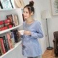 704 #2017 Moda Outono Maternidade Camisas com Bordados Estilo Vintage Tops Gravidez Roupas para Mulheres Grávidas Primavera Túnica