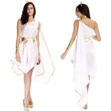 Takerlama Greek Goddess Cosplay Costumes White Loose Irregular Dress Halloween Carnival Party Fancy Dress