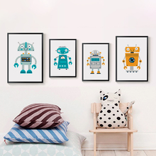Modern Simple And Lovely Cartoon Robot A4 Canvas Art Wall Print Image Poster Painting Children Bedroom Home Decoration