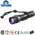 TOPCOM Aluminum 390-395nm 5W High Power Zoom LED UV Flashlight With Clip