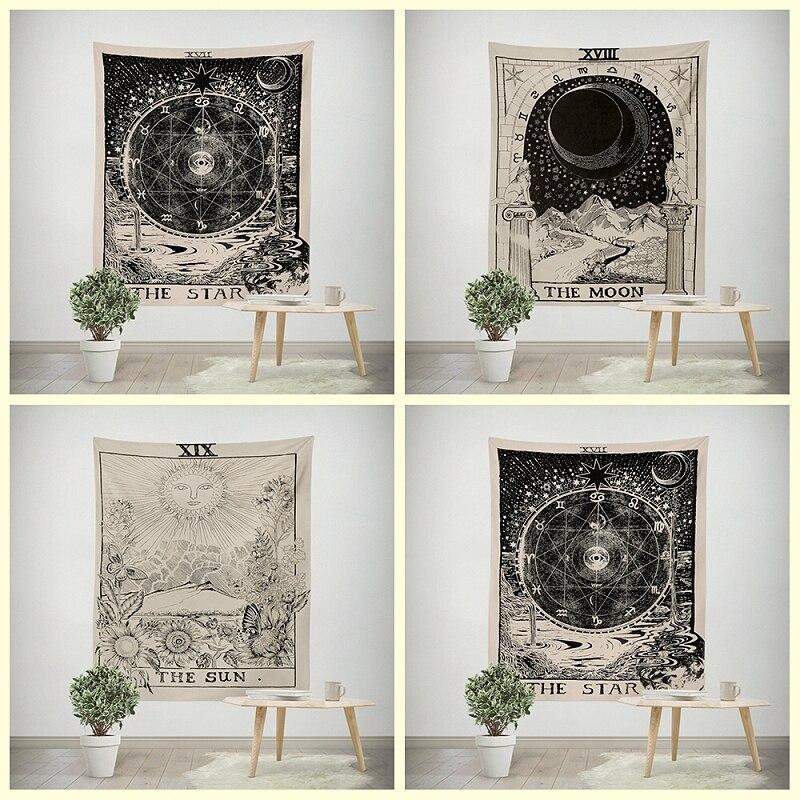 1 unid Tarot tapices sol Luna estrella mandala Hippie tapicería tapiz mandala Boho colgante de pared manta alfombra estera de Yoga decoración YYY9693