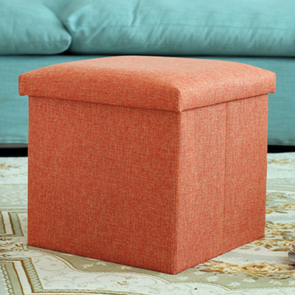 Folding Stool Foldable Simple Linen Storage Box Home Office Multifunctional Pouffe Practical Strong Load Capacity Seat