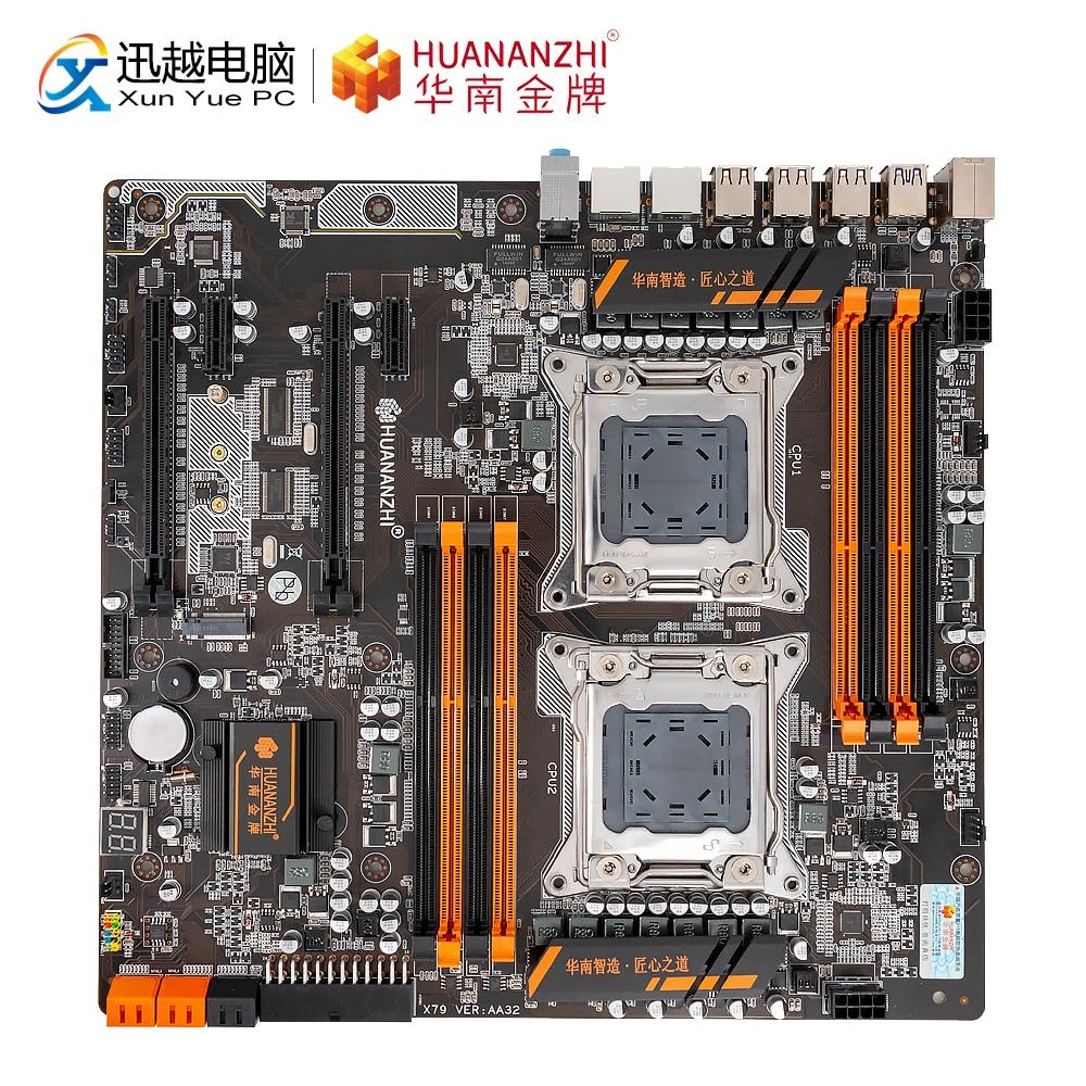 HUANAN ZHI X79-8D Motherboard Intel Dual CPU LGA 2011 E5 2689 2670 V2 DDR3 1333/1600/1866MHz 256GB M.2 NVME SATA3 USB3.0 E-ATX