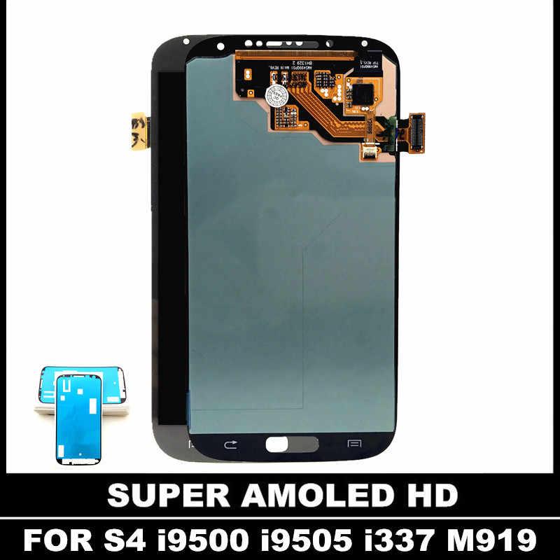 100% سوبر AMOLED شاشات lcd لسامسونج غالاكسي S4 i9500 i9505 i9506 i337 المحمول شاشة الكريستال السائل مجموعة المحولات الرقمية لشاشة تعمل بلمس ملصقا