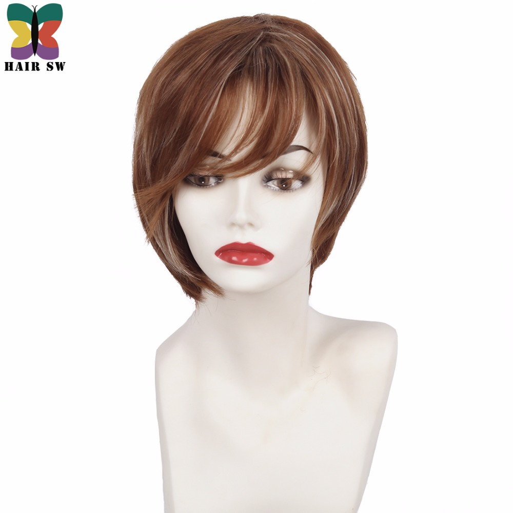 HAIR SW Short Straight Pixie cut layered Synthetic Wig Copper Brown Blonde Highlights Natural Ladies wig with angled sides bangs ...