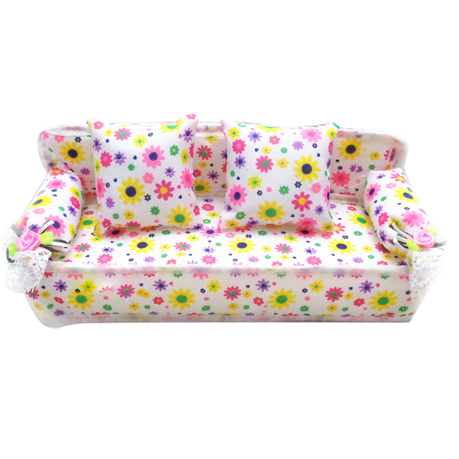 Kawaii Cute Mini Miniature Furniture Flower Sofa Print Couch With 2 Cushions House Accessories For Barbie Doll Toy Children Gift