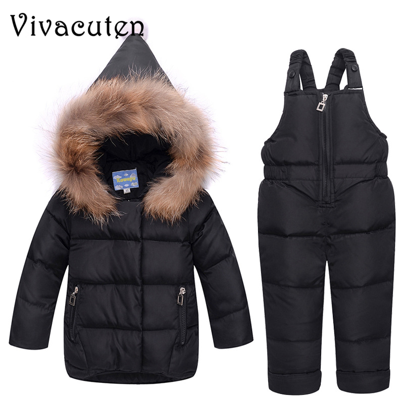 c8c3c7c1c04d aliexpress.com - Baby Fur Collar White Duck Down Jackets Pants 2pcs ...