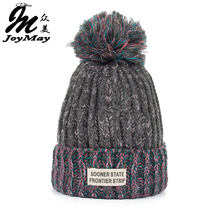 Joymay Woman Fashion Winter Knitting Hats with pompom Beanies Cap W222(China)