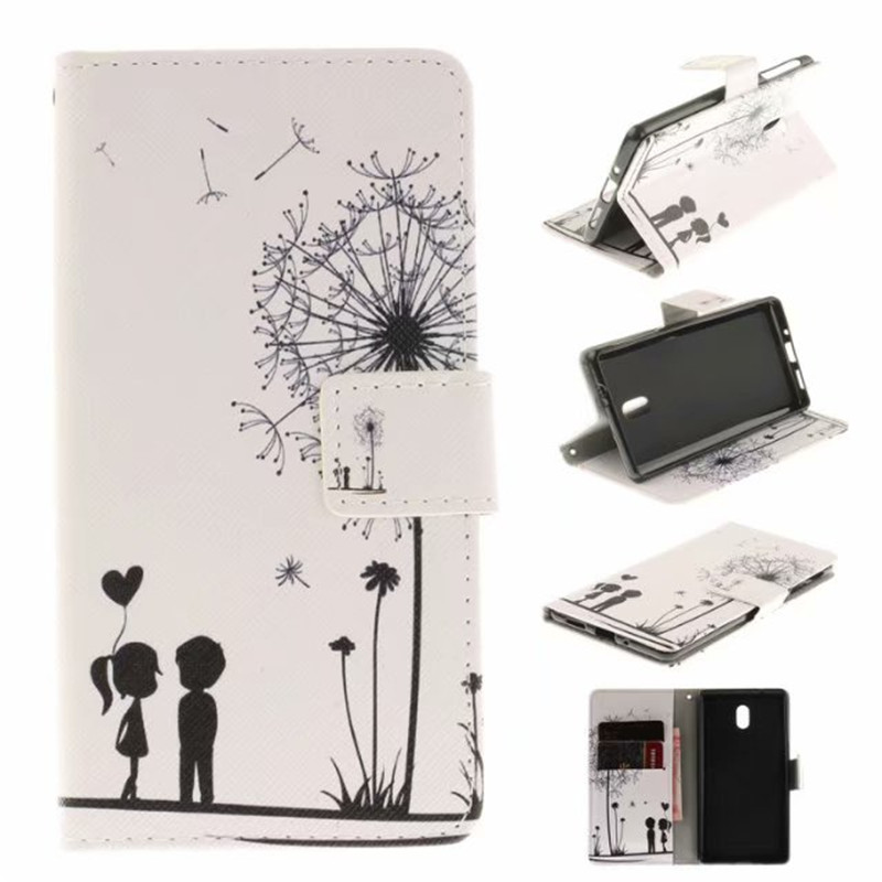 Flip Cover Stand For Nokia 3 Nokia3 Case Leather Phone Bags <font><b>Sexy</b></font> <font><b>girl</b></font> Cartoon letters Animal Skin Fundas Coque image
