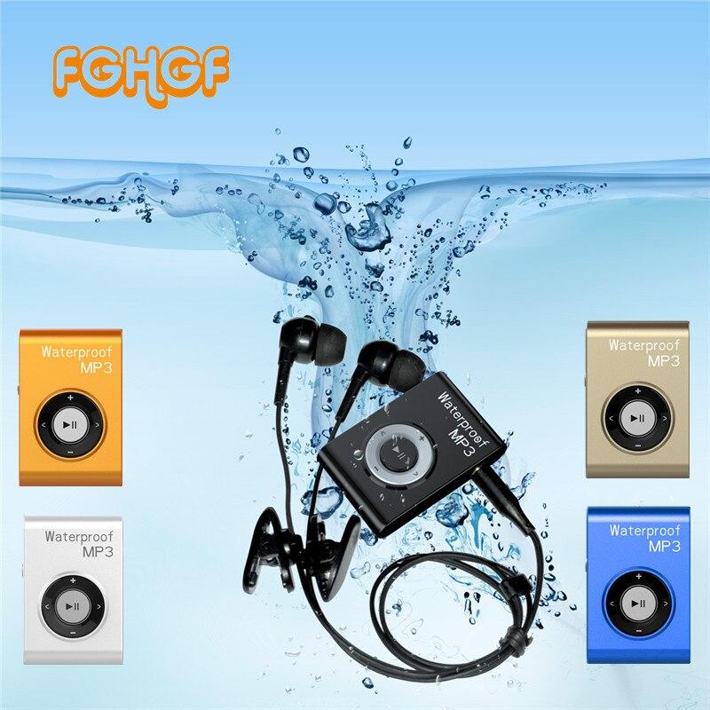 IPX8 Lecteur MP3 Étanche Natation Plongée Surf 8 GB/4 GB Sport Casque Lecteur de Musique avec FM Clip Walkman MP3 Lecteur Date