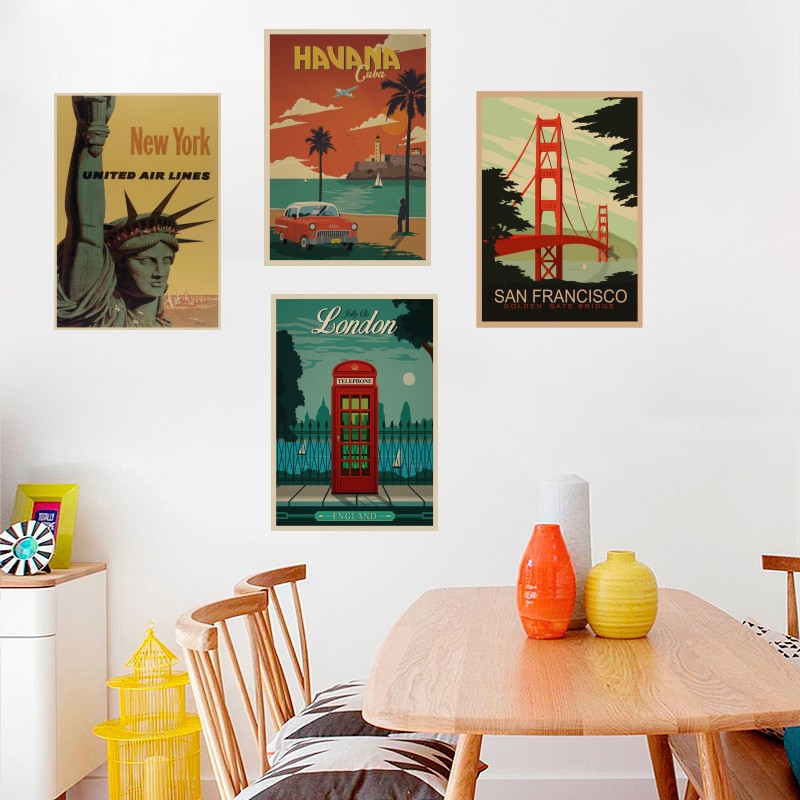 TRAVEL & RAILWAYS Posters Wall Stickers Retro MIAMI/ROME/MAUI/LONDON/NEW York Poster Prints  For Livingroom Home Decoration αυτοκολλητα τοιχου καθρεπτησ