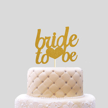 bride to be Cake Topper Cupcakes flags Bridal Shower Supplies Glitter Shiny Paper Bachelorette Hawaiian wedding Party Decor
