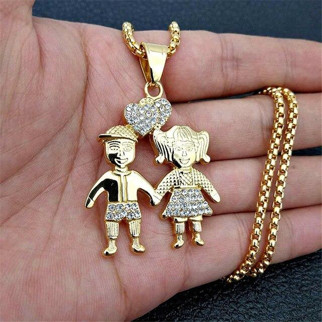 Colliers avec pendentifs pour couples amoureux en couleur dorée, à la mode, chaîne en acier inoxydable, pour garçons et filles, 2020
