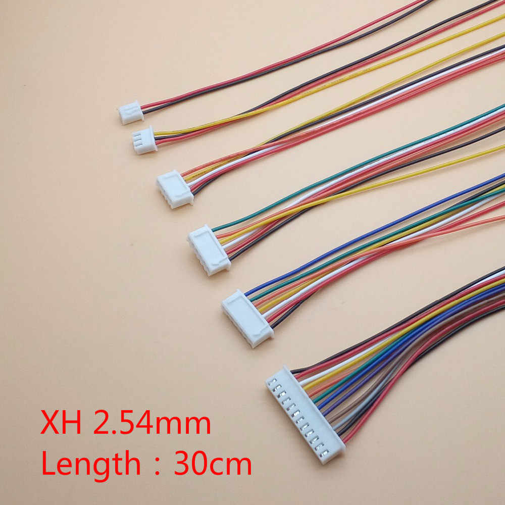 10 unids/lote JST XH 2,54/2/3/4/5/6/7/8/9 /10 Pin paso 2,54mm conector Cable 30 cm longitud 26AWG