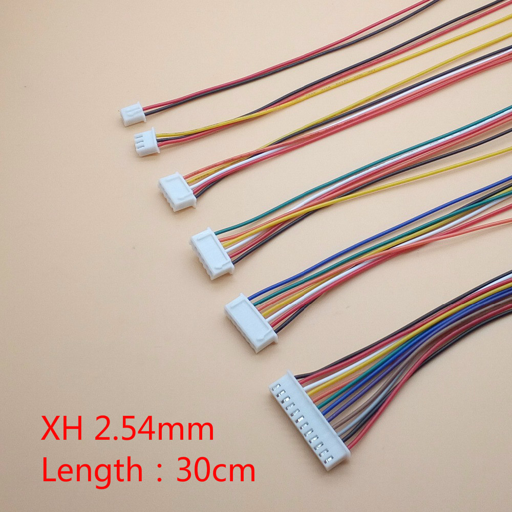10 шт./лот JST XH 2,54 2/3/4/5/6/7/8/9/10 штырьковый штекер 2,54 мм разъем проводной кабель 30 см длина 26AWG