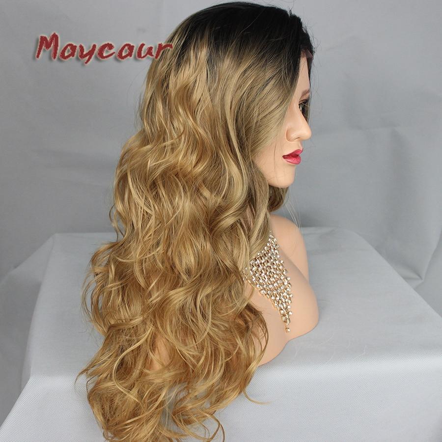 180 täthet långa vågor med naturliga hår syntetiska snörning - Syntetiskt hår - Foto 4