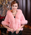 2017 autumn and winter faux fur coat mink hair rex rabbit hair cape jacket women overcoat imitation fox fur collar free shipping