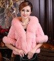 2017 outono e inverno falso casaco de pele de vison cabelo do coelho rex cabelo cape casaco sobretudo as mulheres imitação fox fur collar frete grátis