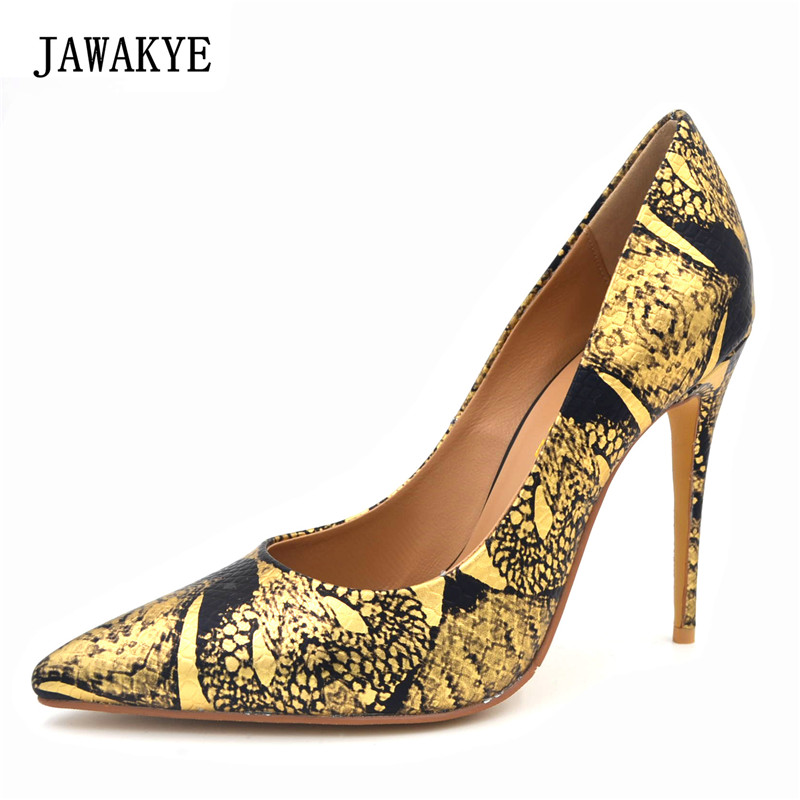 JAWAKYE Women Shoes golden Embossing snake skin leather Sexy Stilettos High Heels Pointed Toe Pumps Wedding Shoes Chaussure jawakye super high heel pumps red white shoes women pointed toe high quality leather wedding shoes bride 12cm ladies stilettos