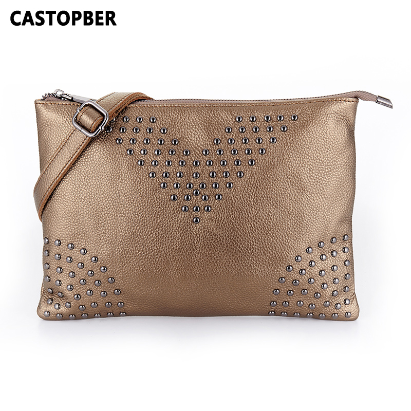Women Rivet Bag First Layer Of Cowhide Genuine Leather High Capacity Crossbody Bags Day Clutch Full Grain Leather Ladies Famous high end of the first layer of litchi grain leather bucket bag basket classic bag handbag small women