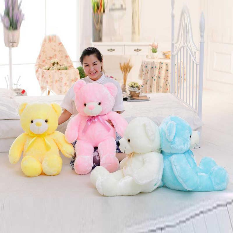 Световой 30/50/80 см творческий загорается светодиодный Тедди Набивная игрушка «Медведь» плюшевые игрушки красочные светящиеся Teddy Bear Рождественский подарок для детей