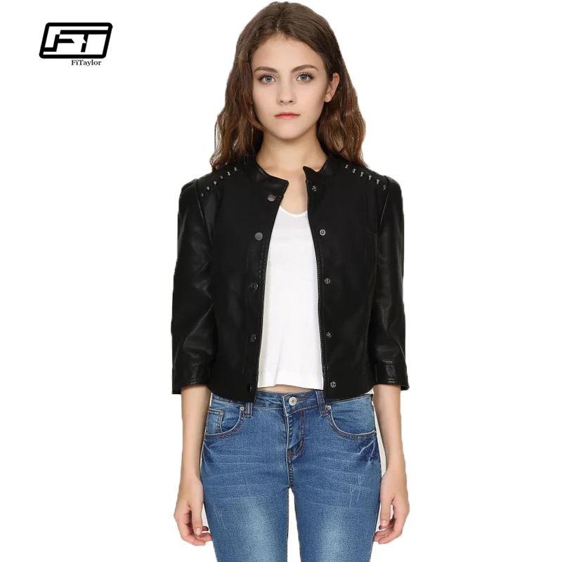 Fitaylor 2019 New Spring Women Faux   Leather   Jacket Soft PU Coat Motorcycle Rivet Lady Stand Collar Three Quarter Short Outerwear