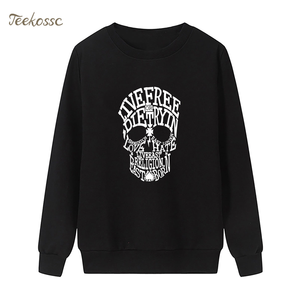 Band Punk Rock Sweatshirt Skull Print Hoodie 2018 New Winter Autumn Women Lasdies Pullover Loose Fleece Hip Hop Brand Streetwear