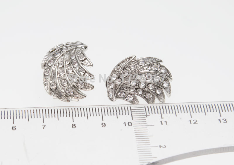 Silver Leaves Clear Crystal Jewelry 4