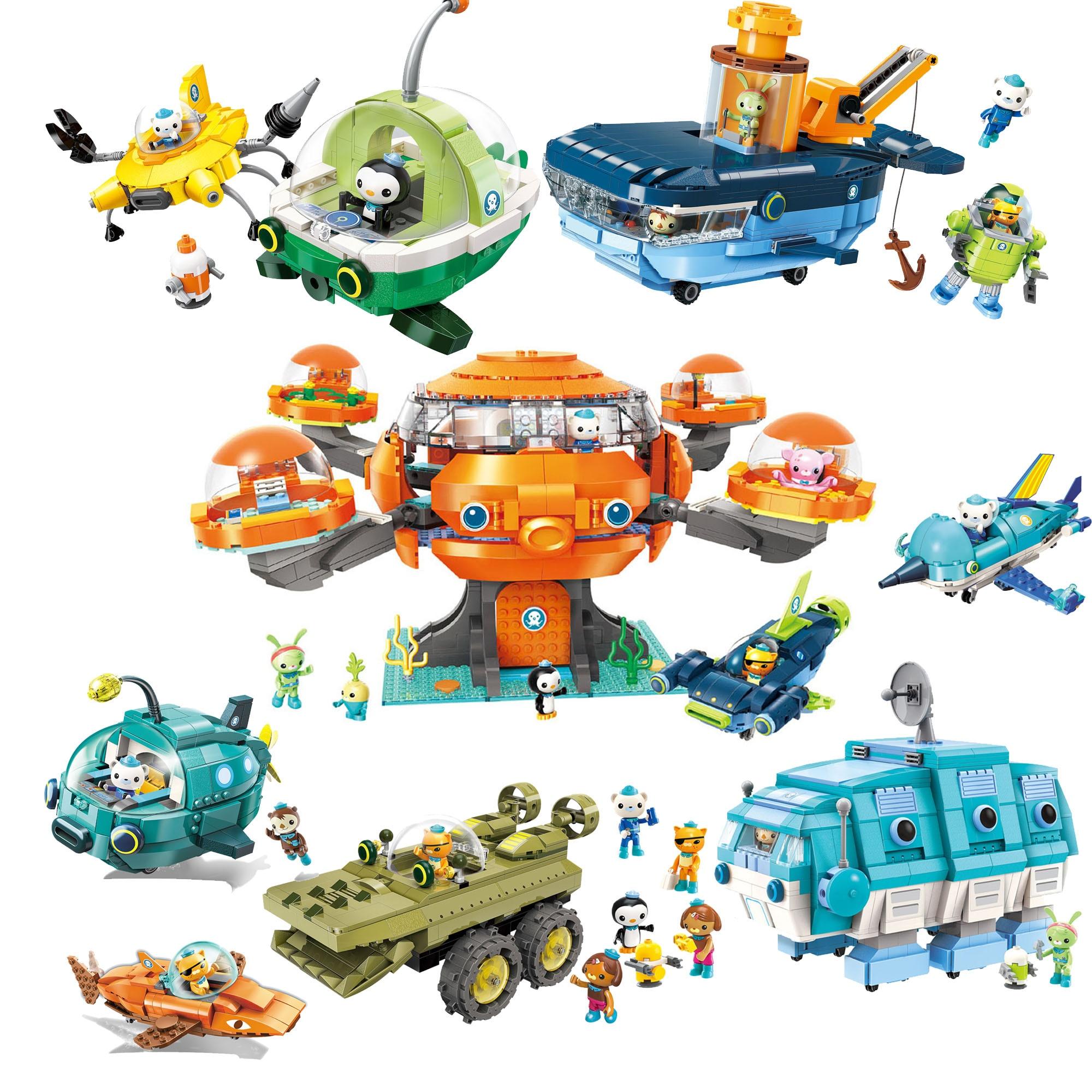 Octtonauts bloco de construção octood gup submarino barco oct-pod com GUP-C GUP-E GUP-D GUP-K GUP-I conjunto de tijolos para crianças presente