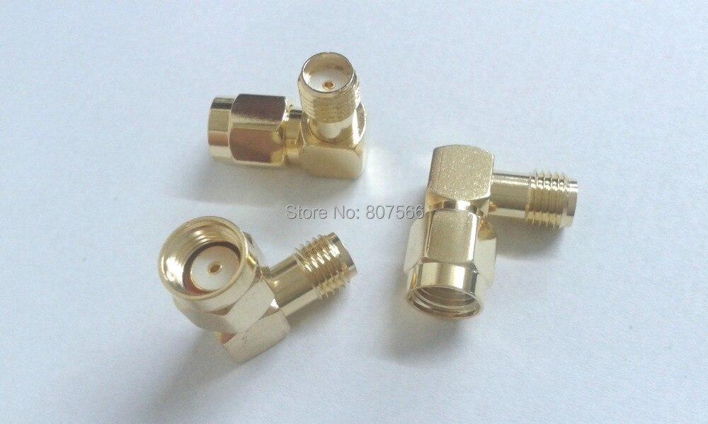 imágenes para 100 unids oro conectores RF Adaptador RP-SMA macho a SMA de Ángulo Recto femenino
