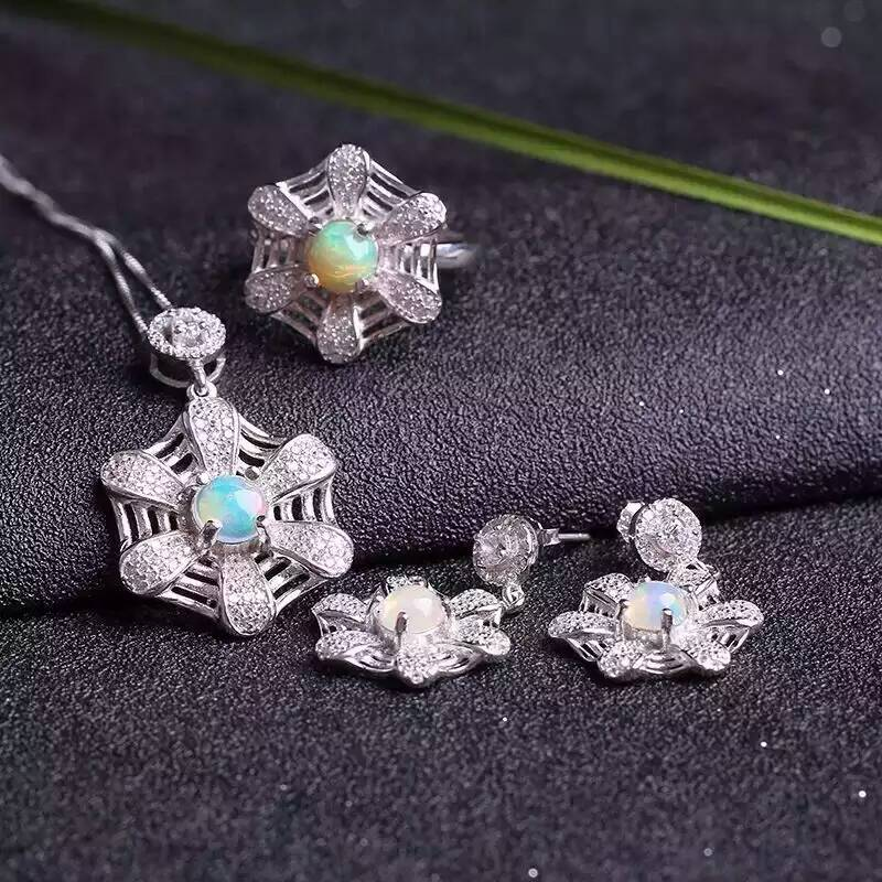 Natural opal gem jewelry sets natural gemstone ring Pendant Earrings 925 silver Stylish lovely Network Fan women party jewelry цена