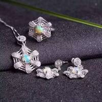 Natural opal gem jewelry sets natural gemstone ring Pendant Earrings 925 silver Stylish lovely Network Fan women party jewelry