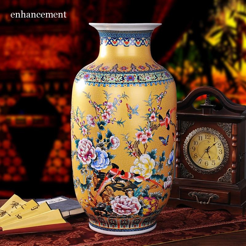 Fine Chino Porcelana Florero Vintage Florero Oriental Pintado Dragones H46cm Antiques Other Asian Antiques