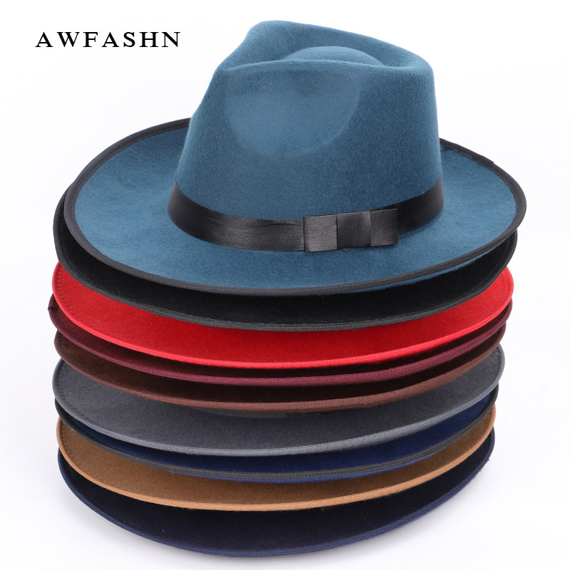 High Quality Wool Ladies Fedora Hat Autumn Winter Woman Top Hat Man Felt Hat Women's Wide Brimmed Fedoras Vintage Classic Cap
